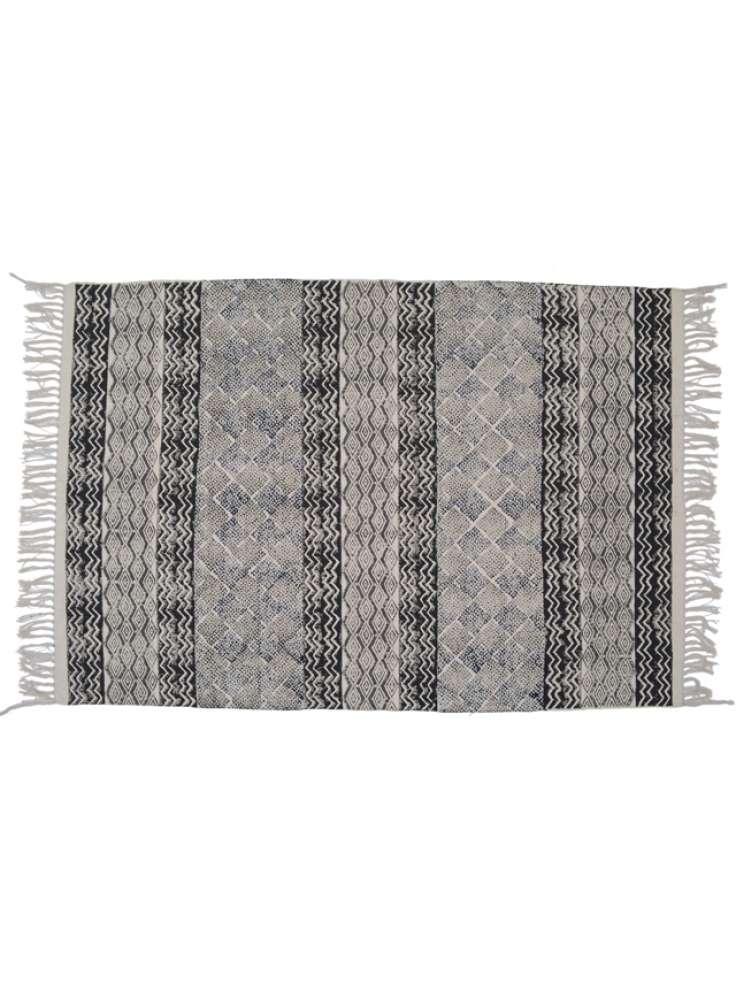 Handloom cotton printed rugs jaipur