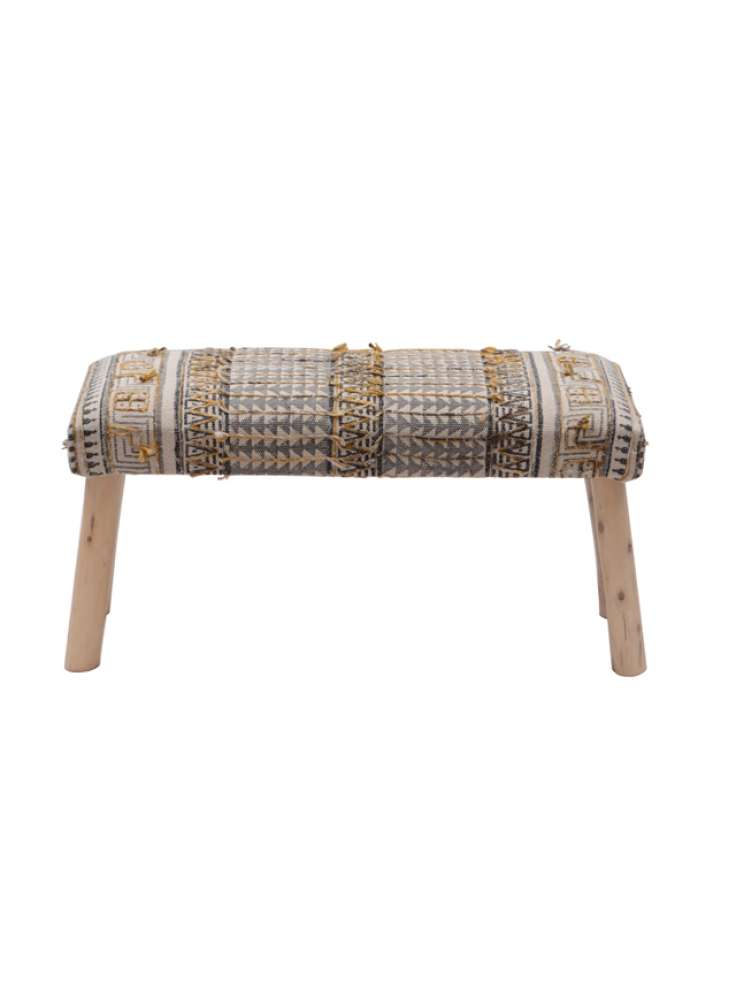 Cotton Embroidered Rug Upholstered Bamboo Leg Wooden Bench