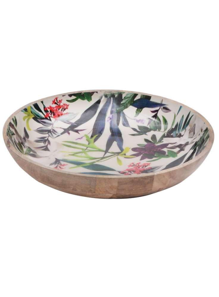Floral Printed Enamel Resin Wooden Bowl