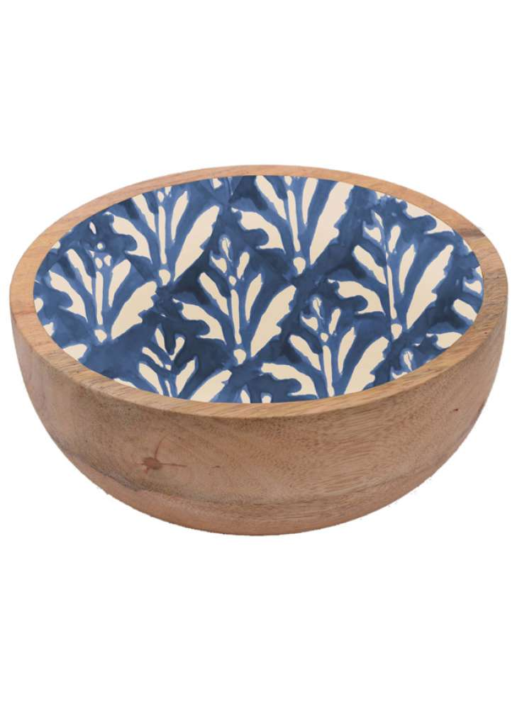 Exclusive Enamel Print Wooden Serving Bowl