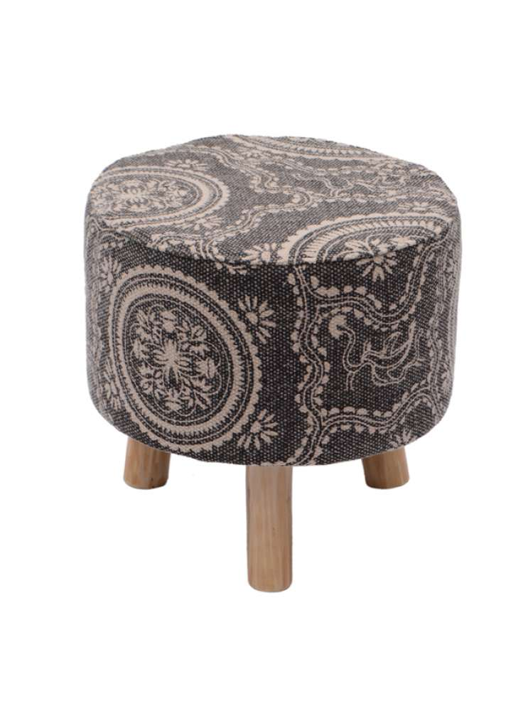 Handcrafted Printed Rug Upholstered Round Ottoman