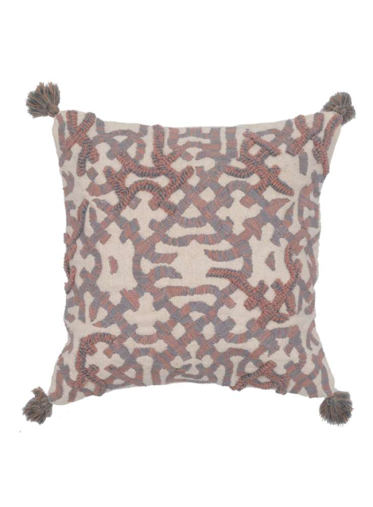 Embroidery and Tassel Accented Cotton Cushion Cover