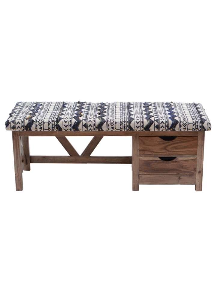 Embroidered Rug Upholstered Storage Wooden Bench