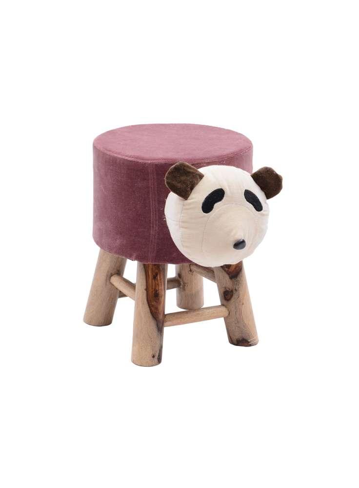Kid room animal face upholstered stool