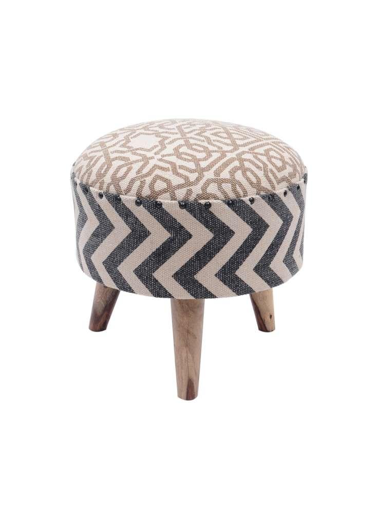 Printed rug upholstered stool