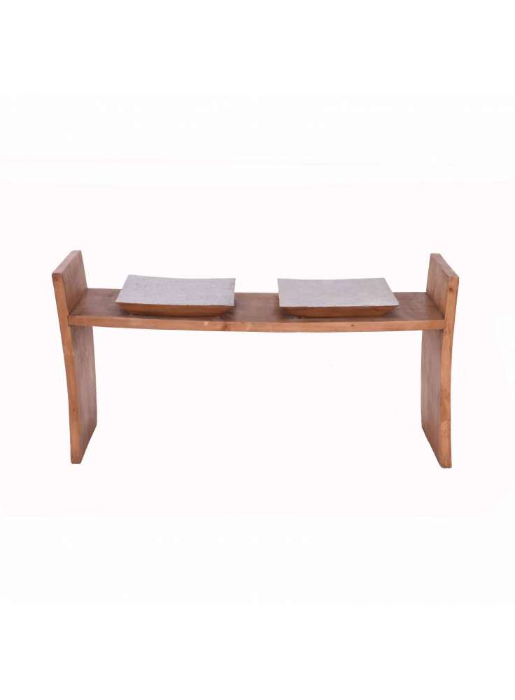 Two Seated Pine Wood Bench Furniture