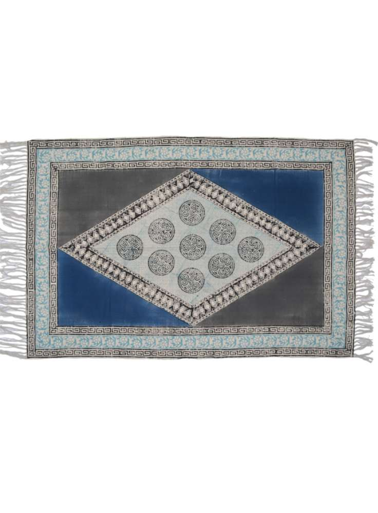 Diamond pattern printed cotton rug indian dhurrie carpets