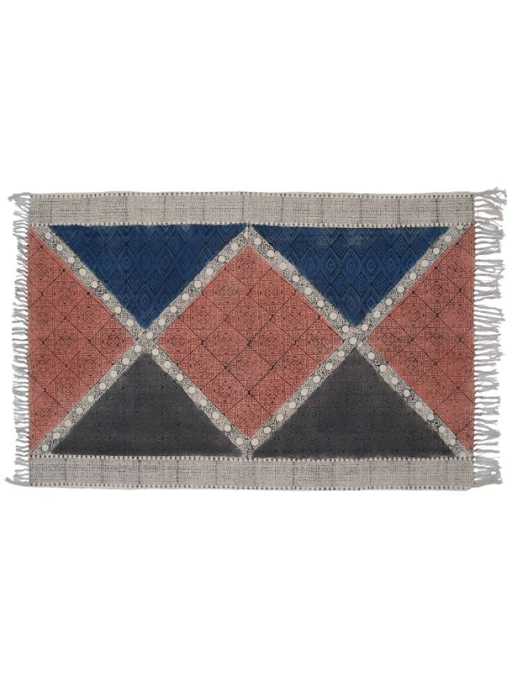 Geometric pattern cotton printed rug dhurries