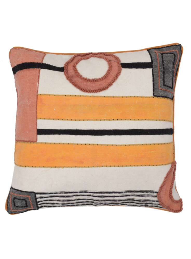 Printed embroidered modern cushion cover