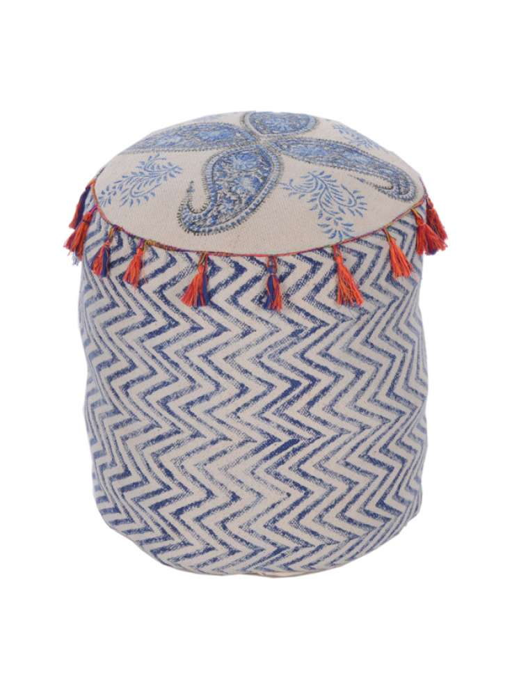 Geometrical Pattern Cotton Pouf With Tassels