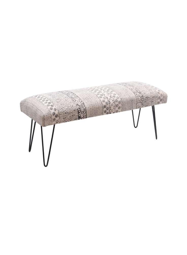 Printed Rug Upholstered Iron Leg Bench