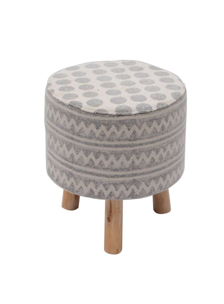 Contemporary Printed Rug Upholstered Wooden Stool Ottoman