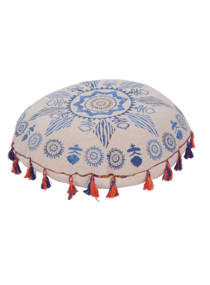 Hand Printed Bohemian Round Floor Pouf With Tassels