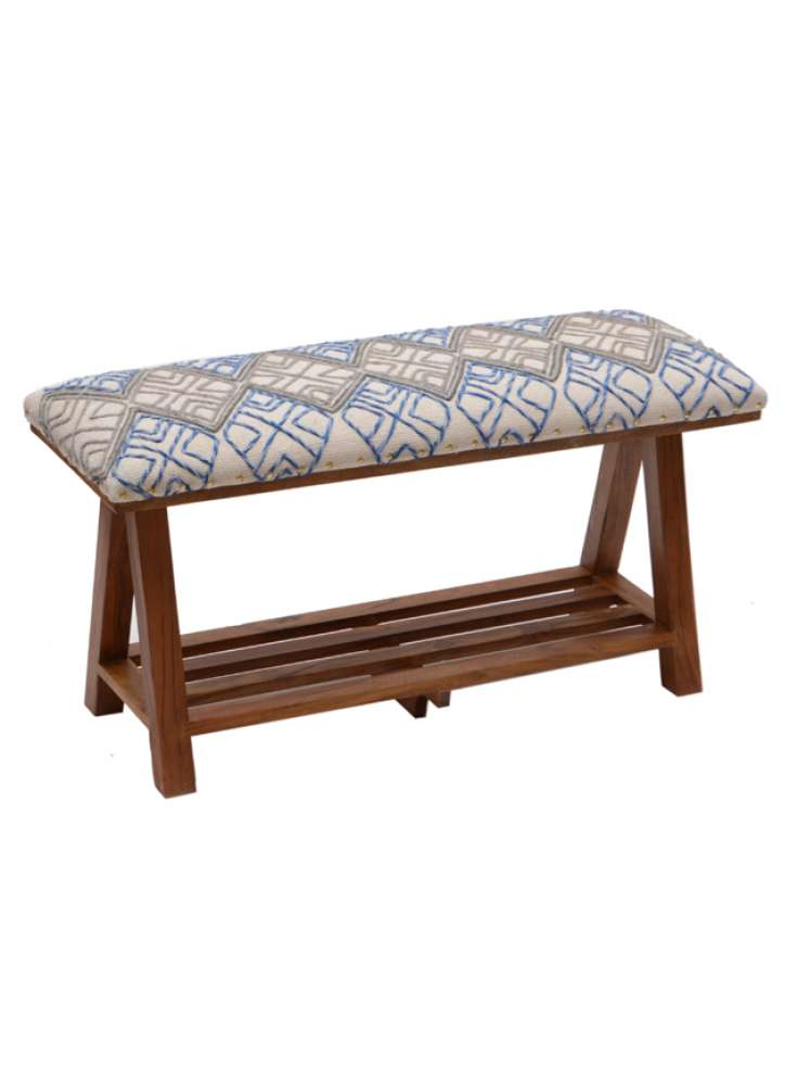 Cotton Embroidered Rug Upholstered Wooden Bench