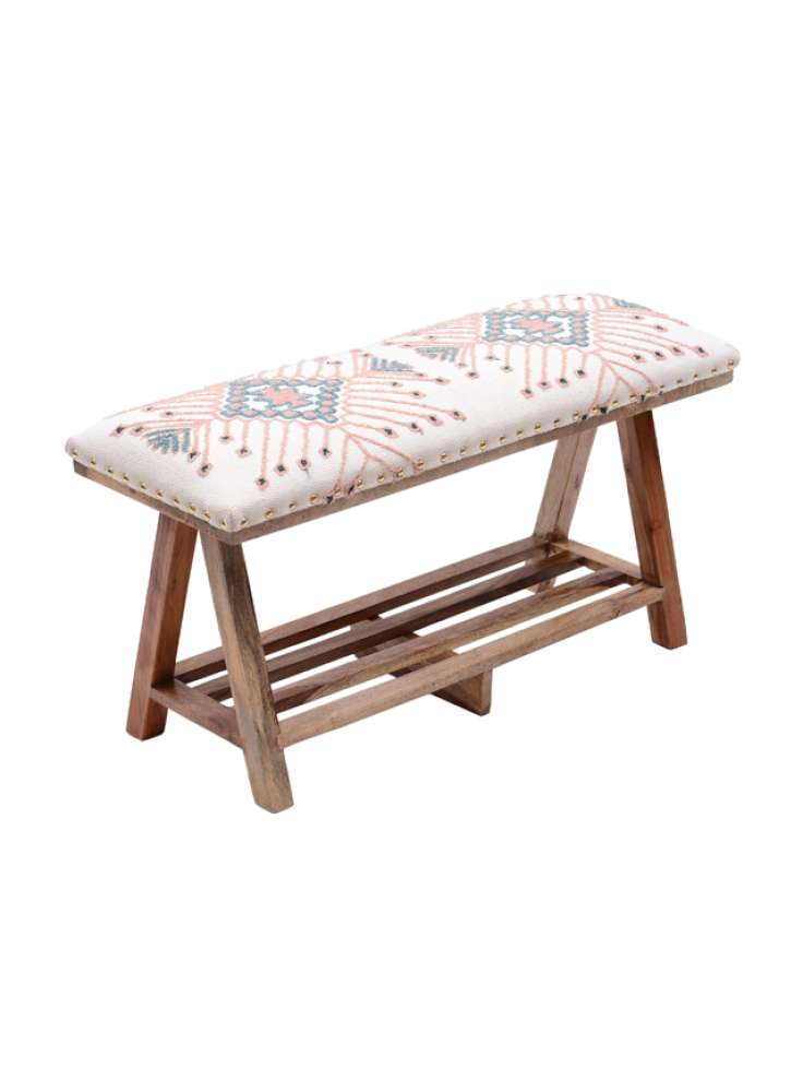 Embroidered Upholstered Storage Bench Stool