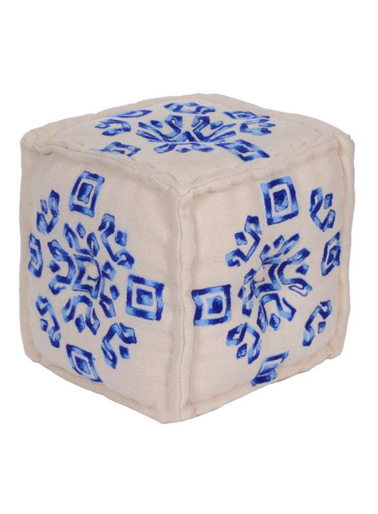Embroidered White Blue Cube Pouf