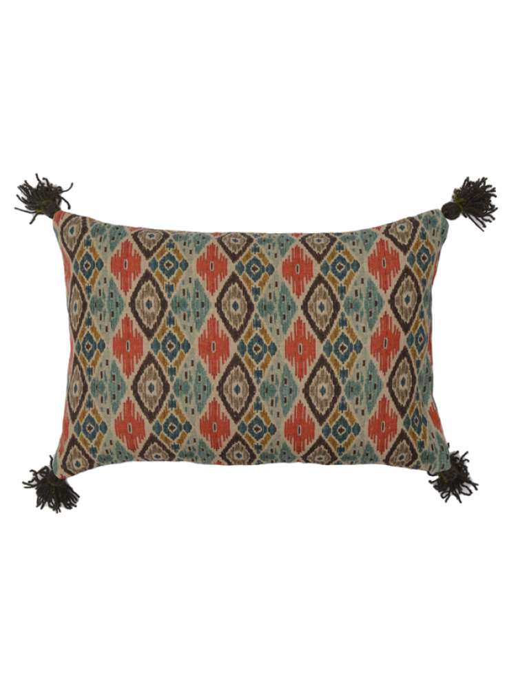 Printed Multicolored Linen Pillow Cover With Tassel Corners