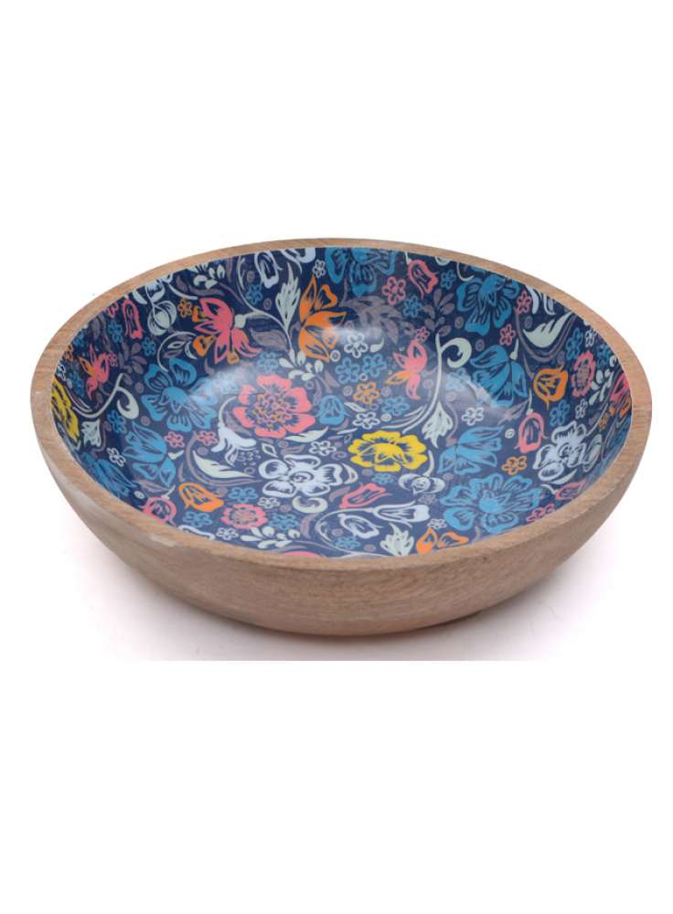 Mango Wood Printed Enamel Bowl