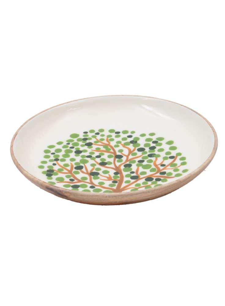 Enamel Print Tree Design Serving Wood Bowl
