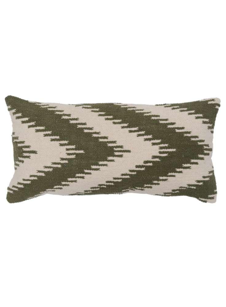 Woven white green pillow cover