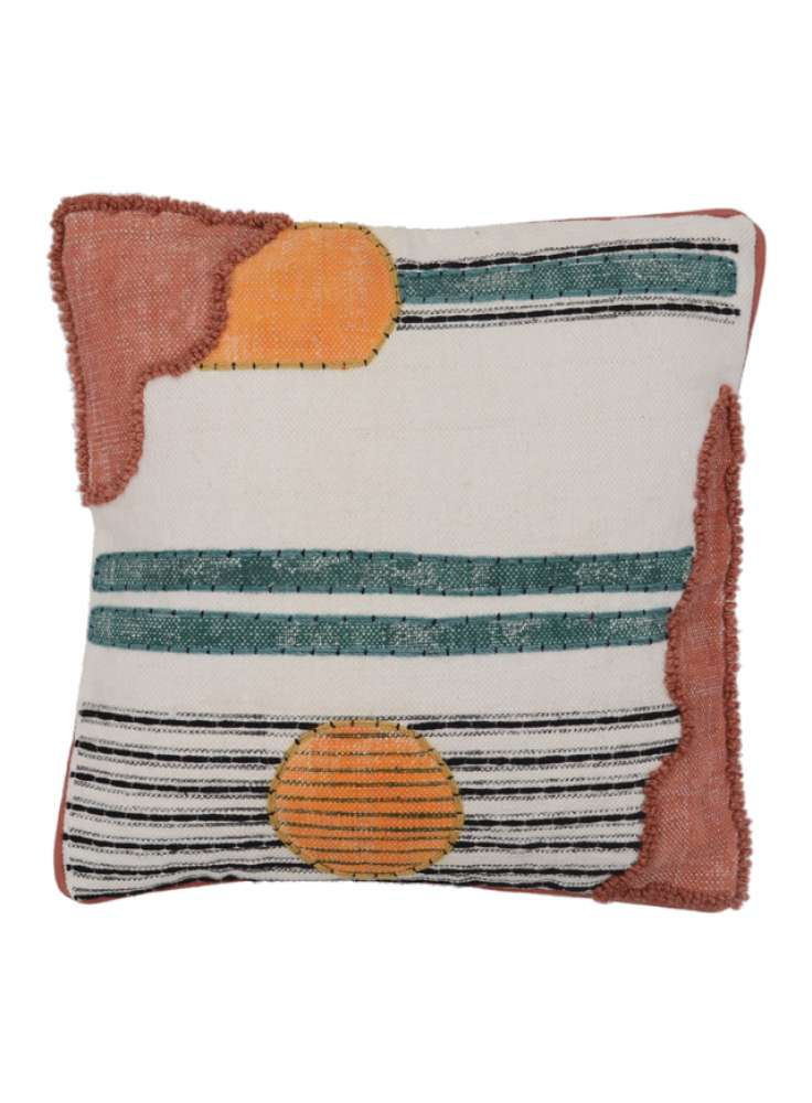 Printed embroidered abstract pattern cushion cover