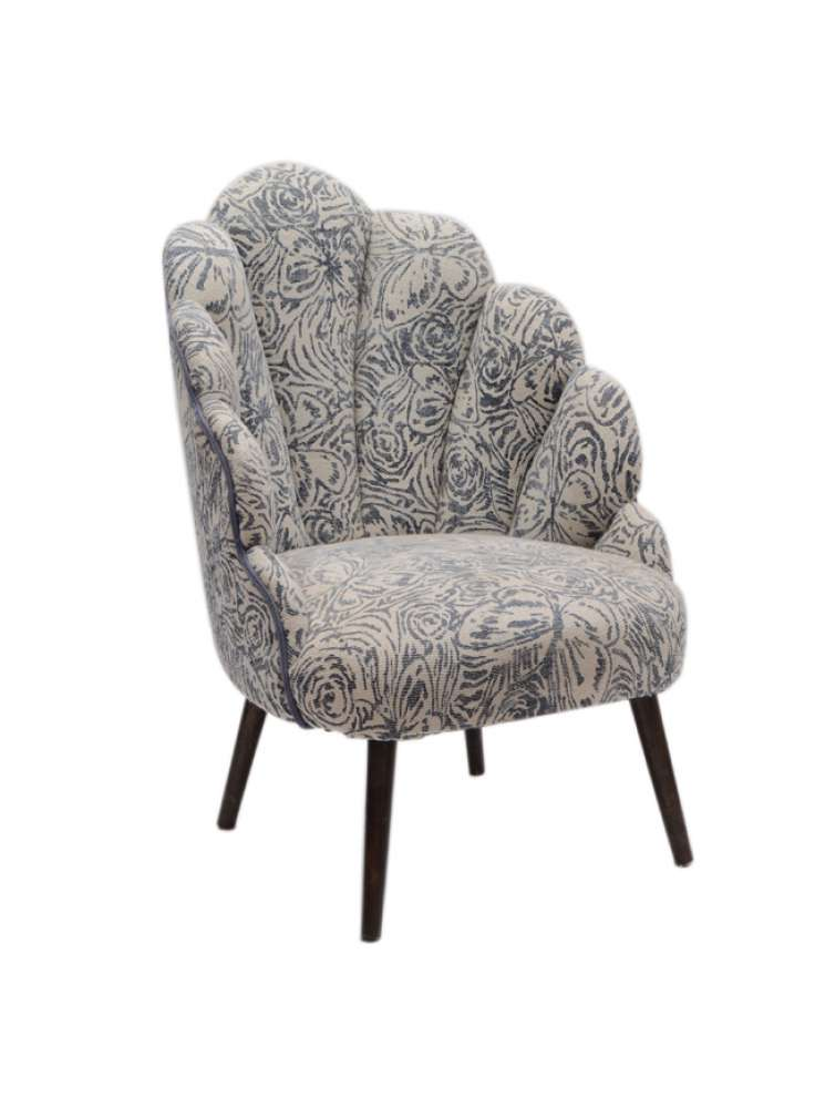 Cotton Printed Rug Upholstered Wooden Accent Chair