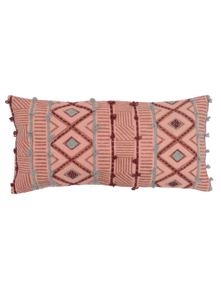 Embroidered geometric pattern cotton pillow cover
