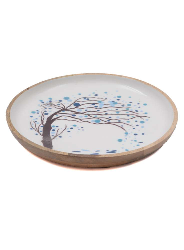 Tree printed wooden bowl