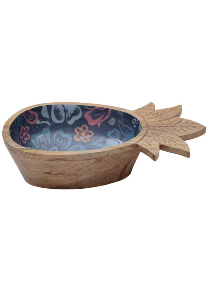 Mango Wood Pineapple Enamel Print Bowl