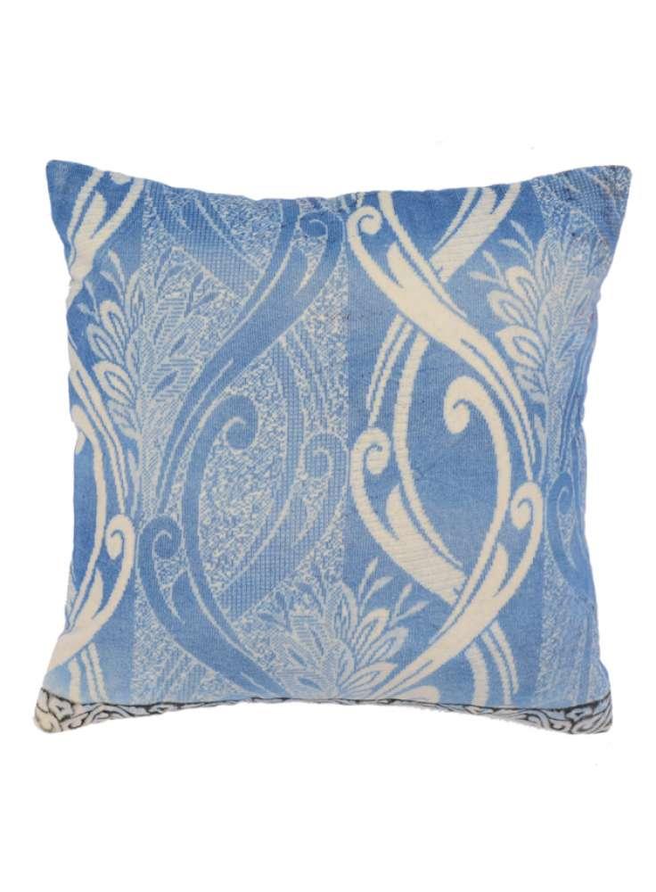 Blue White Floral Print Soft Velvet Cushion Cover