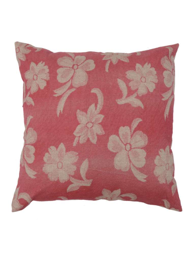 Pink White Floral Print Velvet Cushion Cover
