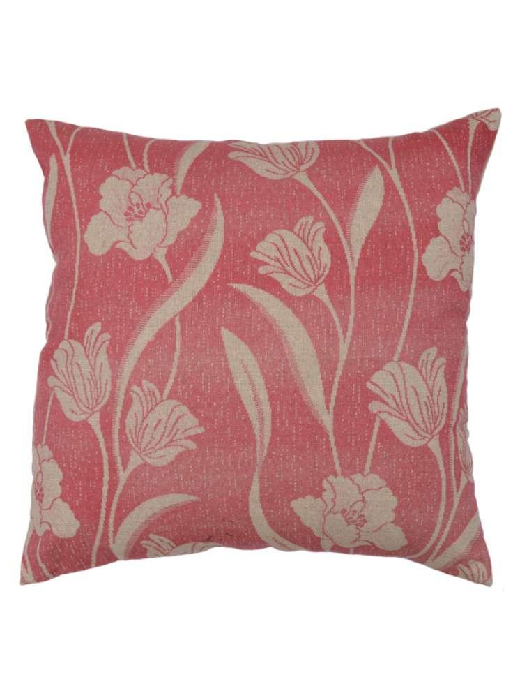 Pink White Floral Print Elegant Velvet Cushion Cover