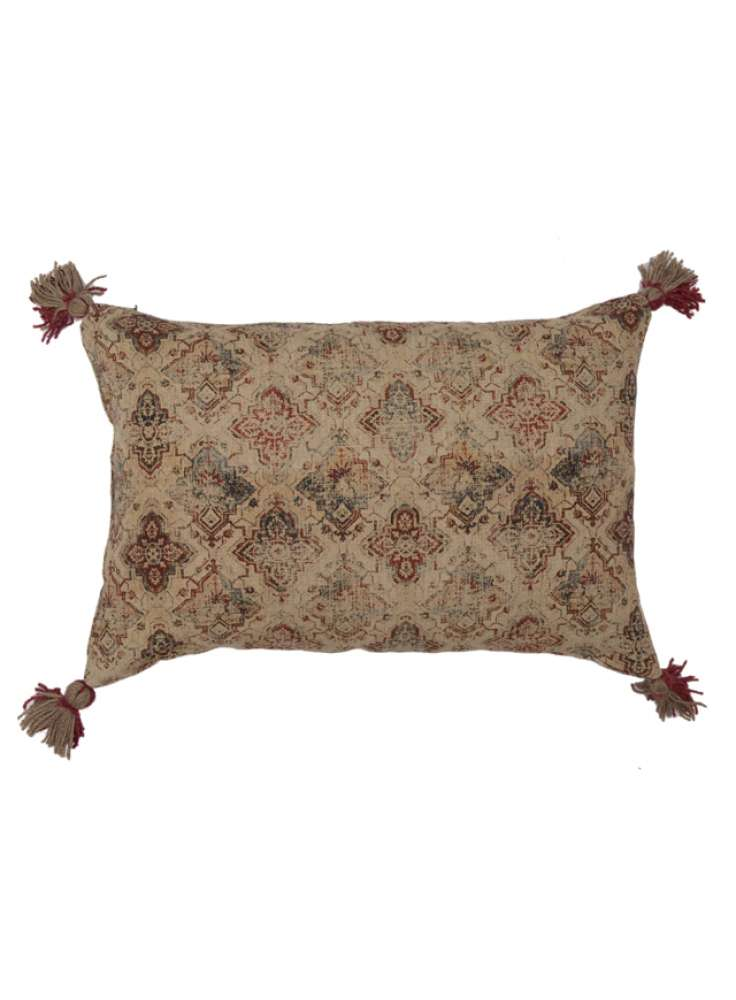 Faded Print Decorative Linen Pillow Cover With Tassel Corners