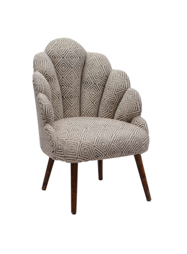 Diamond Pattern Wingback Wooden Upholsteres Chair