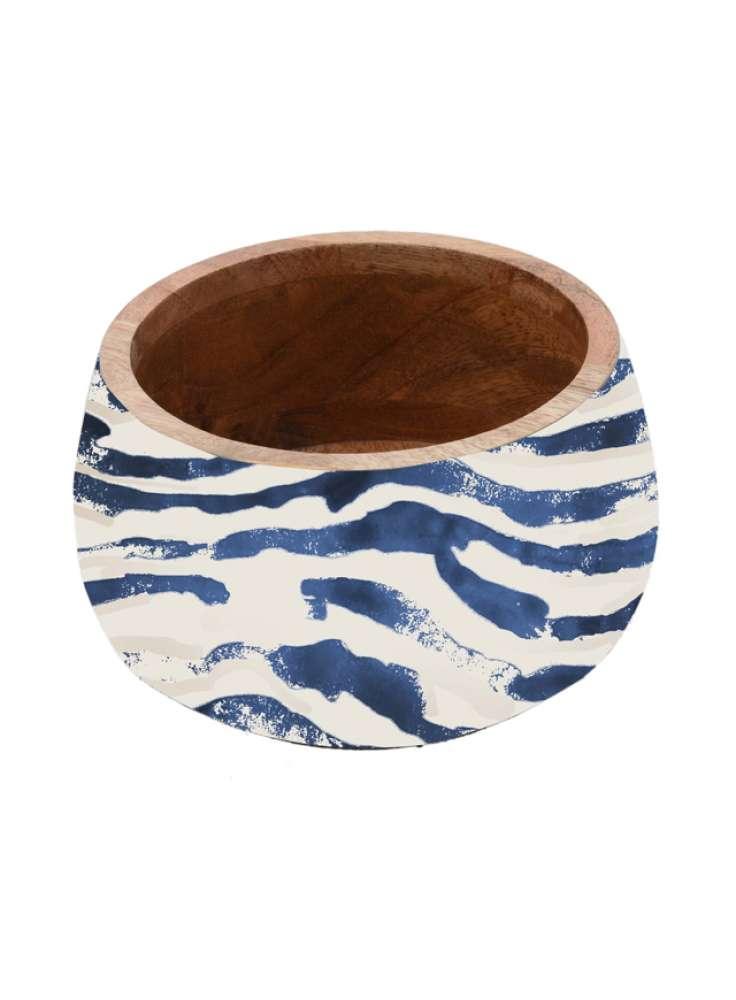 Unique Blue And White Enamel Print Wooden Bowl