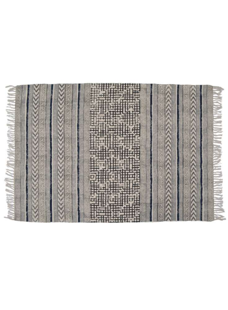 Grey abstract design area cotton rug jaipur