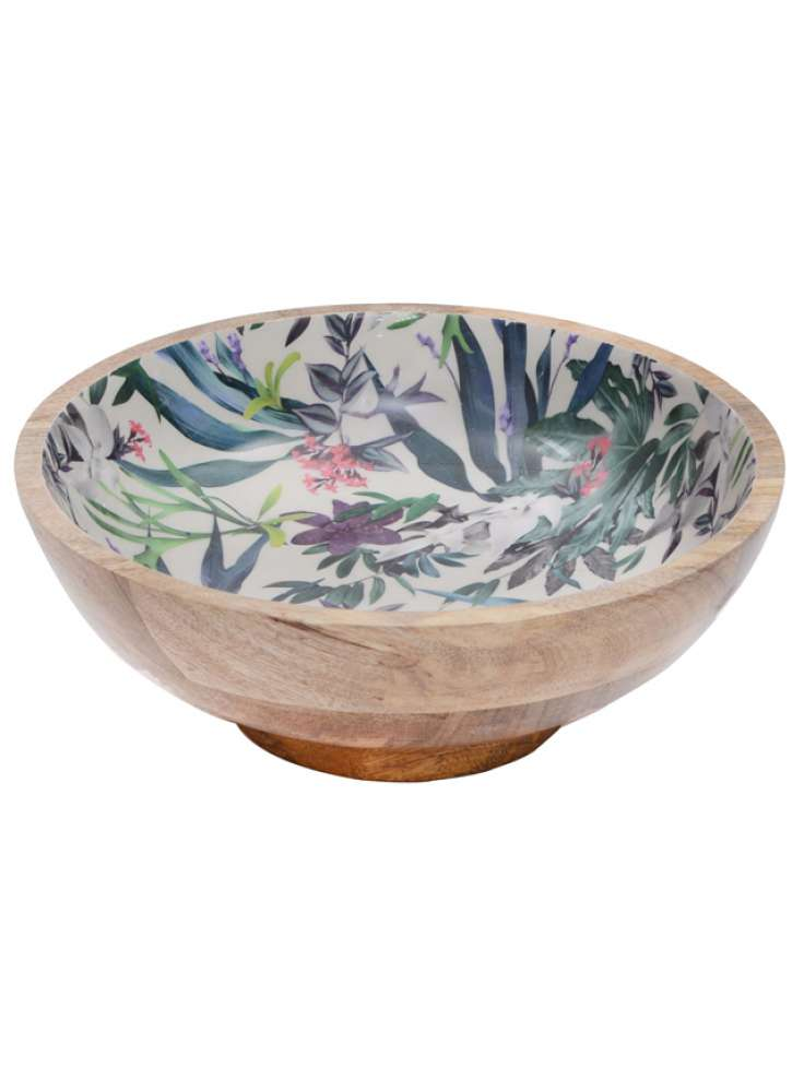 Handcrafted Wood Enamel Print Bowl