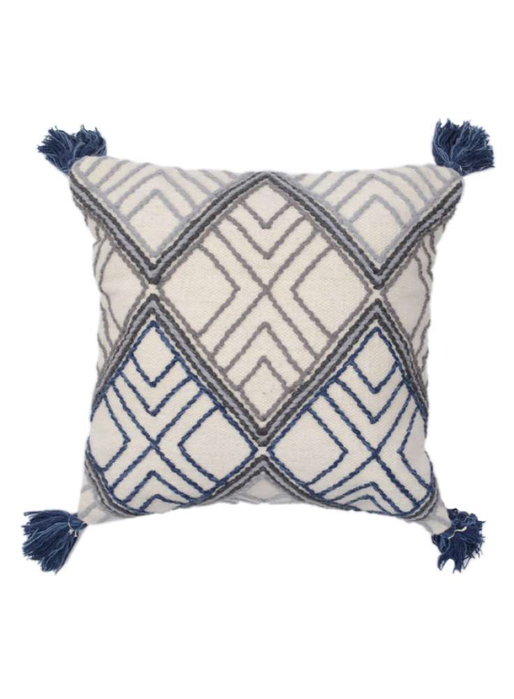 Embroidered Geometrical pattern cotton cushion cover with tassel