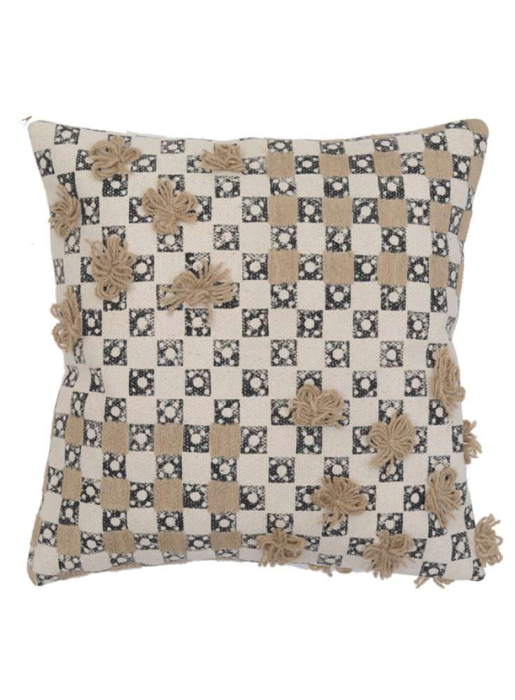 Decorative Embroidery Accent Black White Cotton Cushion Cover