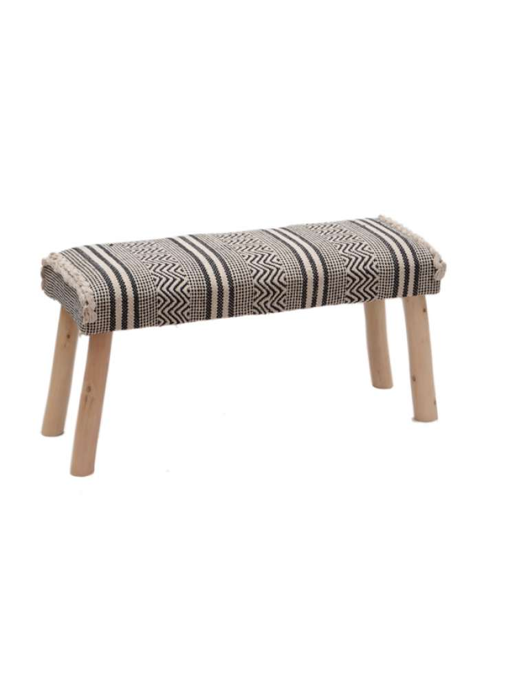 Cotton Woven Rug Upholstered Wooden Bench