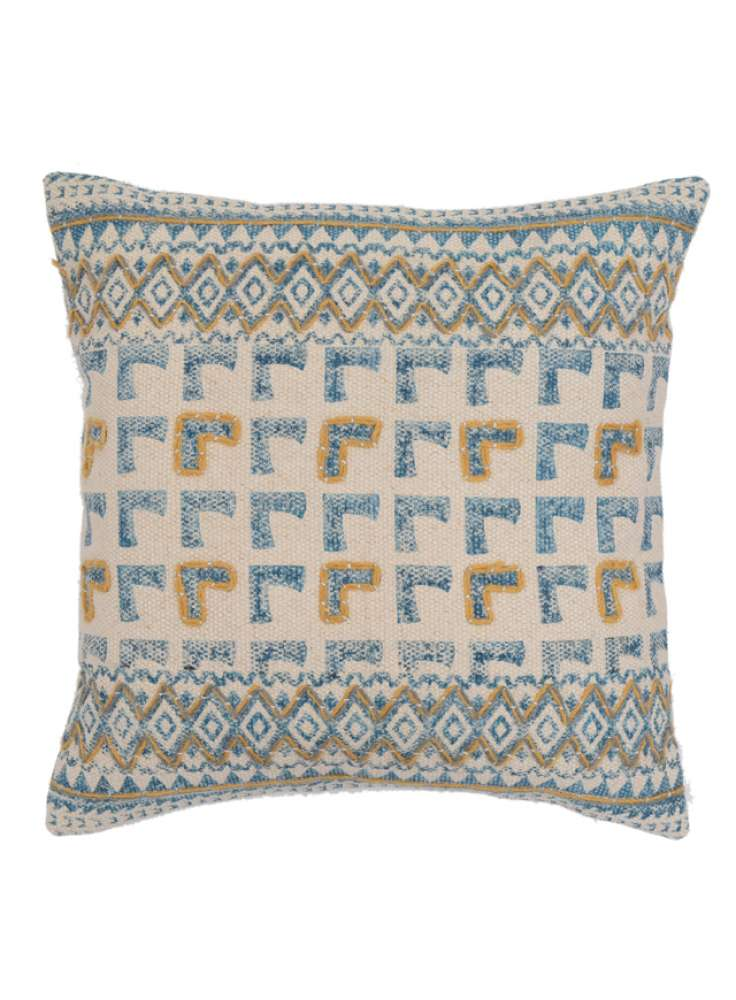Embroidered Printed Accent Cotton Cushion Cover