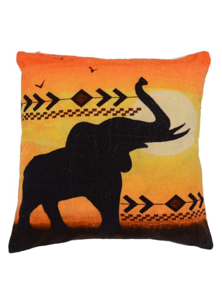 Sunset Elephant Print Cushion Cover