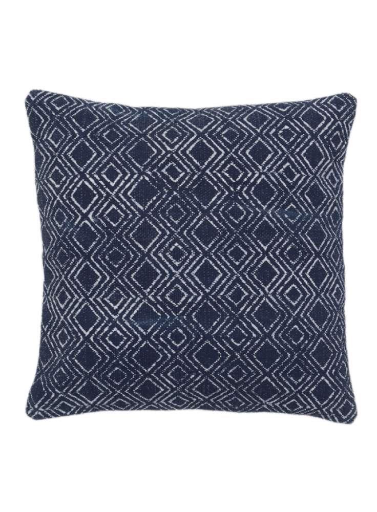Printed Diamond Pattern Blue Cotton Cushion Cover