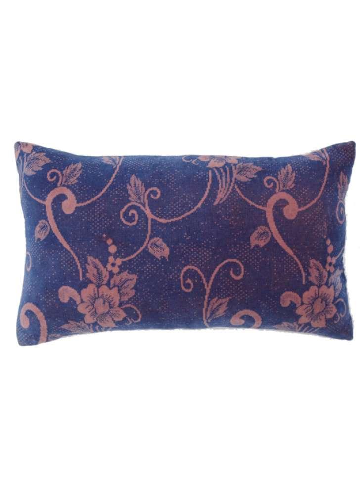 Floral Print Blue Luxe Velvet Pillow Cover