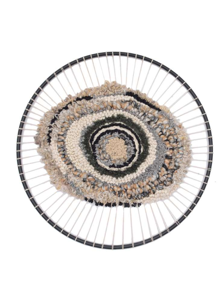 Hand woven round iron embroidery wall hanging