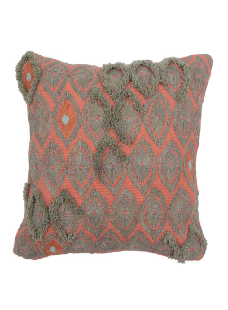 Decorative Diamond Pattern Embroidered Cushion Cover