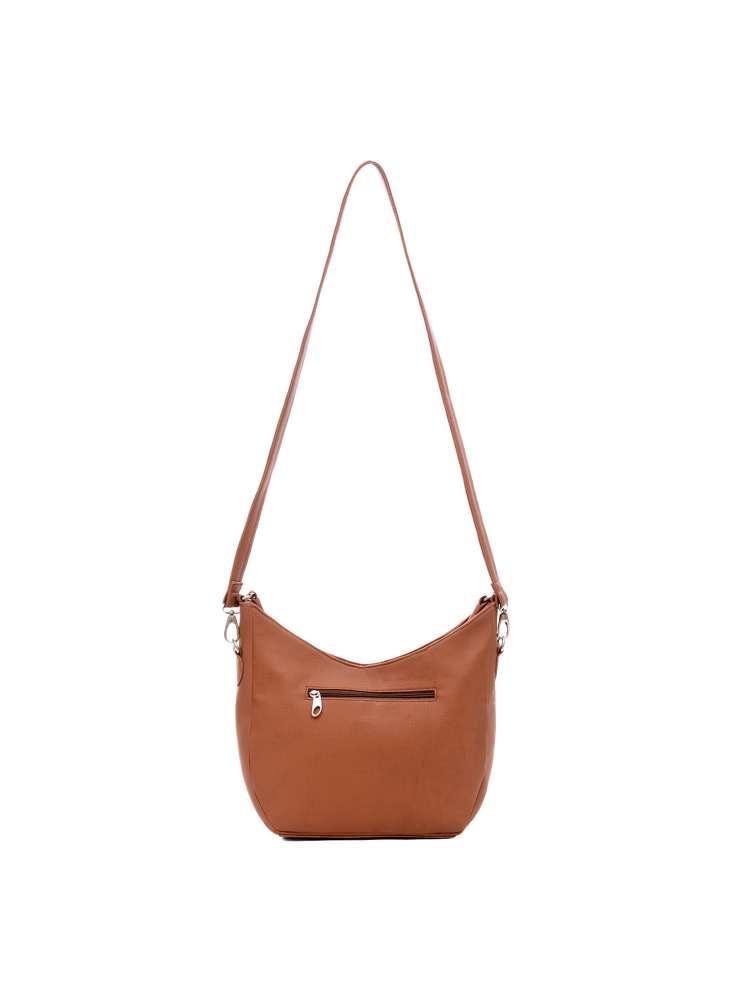 Women solid brown pu handbag