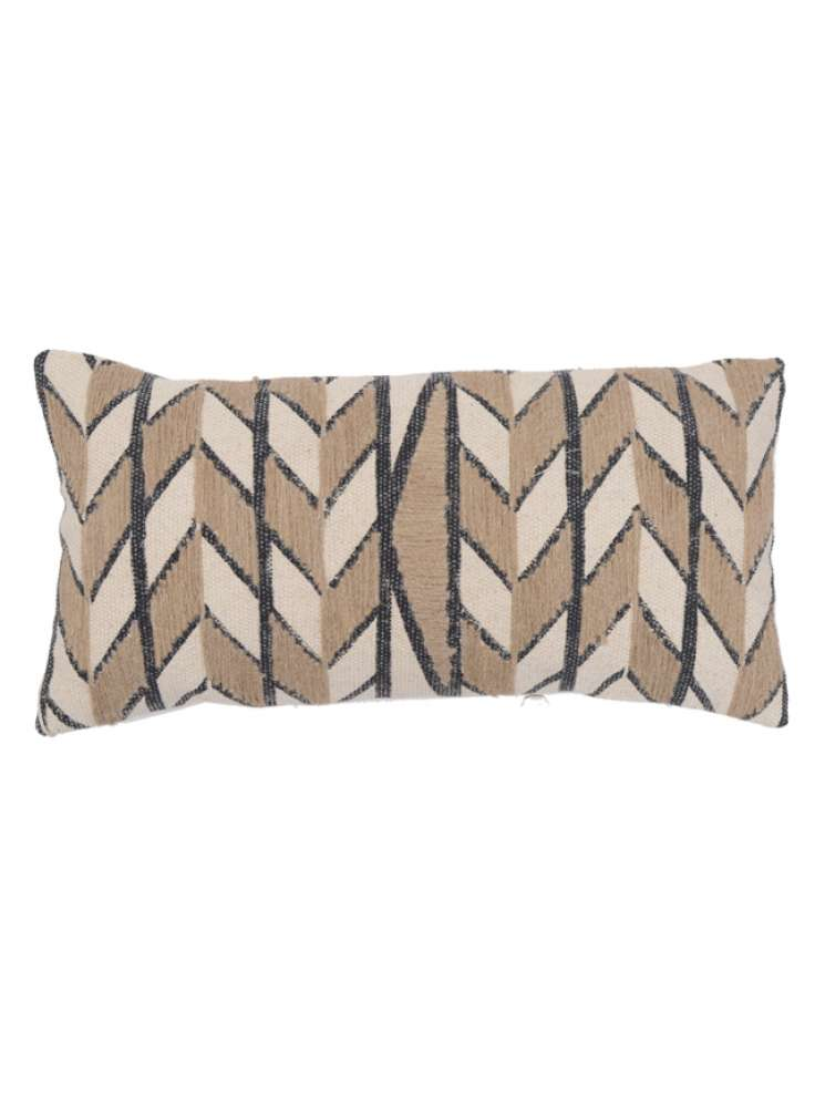 Zigzag and stripe pattern embroidered cotton pillow cover