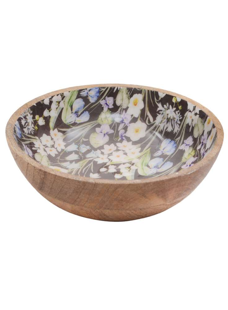 Floral Print Salad Serving Mango Wood Bowl