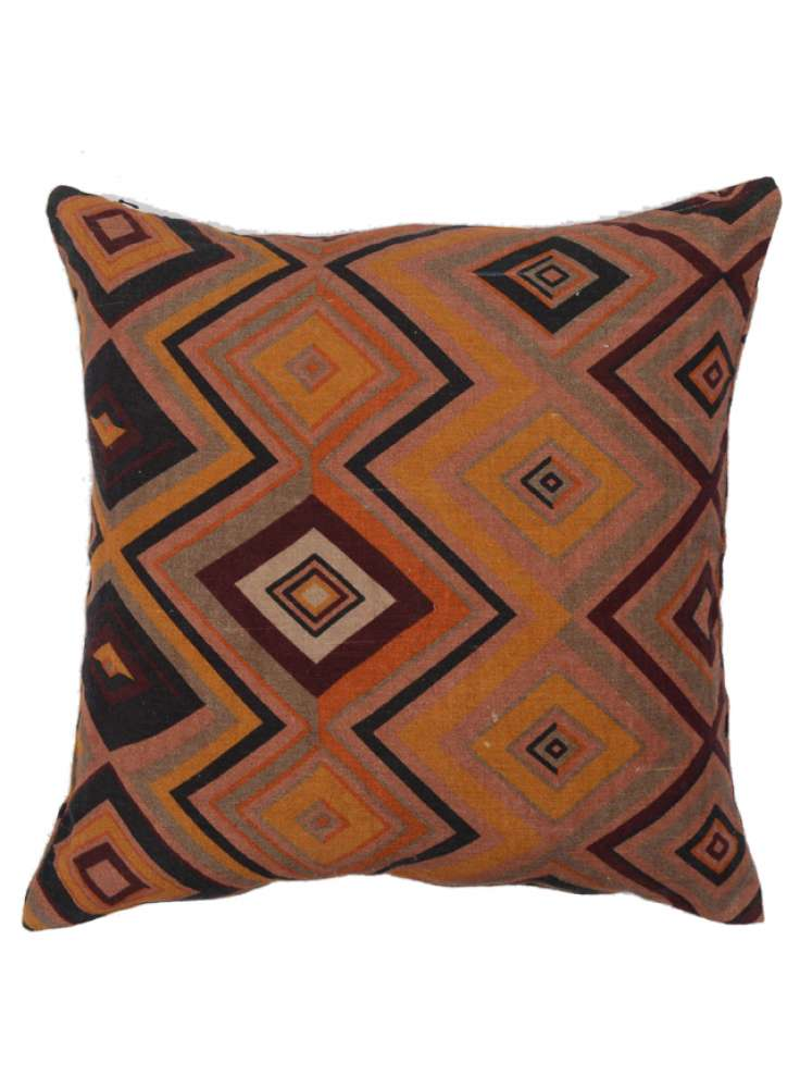 Diamond and Zigzag Print Decorative Linen Cushion Cover